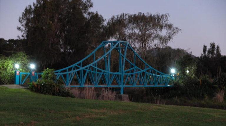 Penwood Railroad bridge under lights